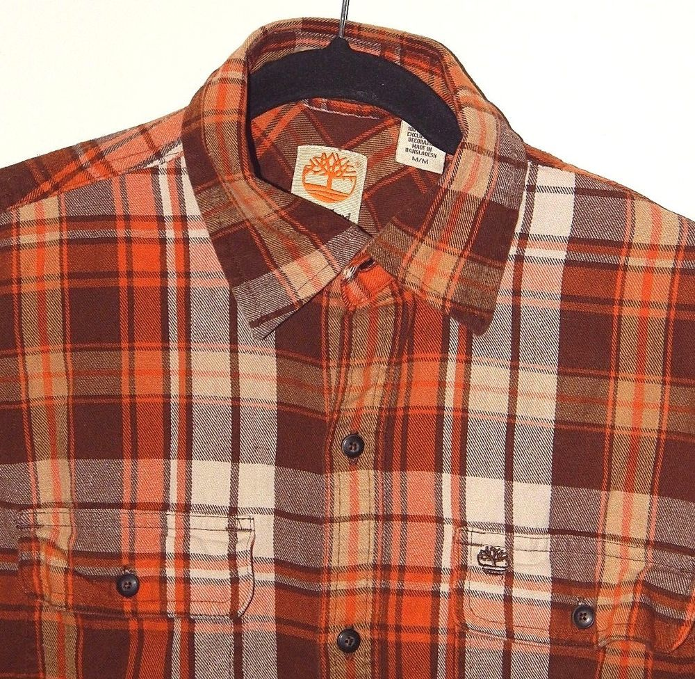 e04ed38c4 TIMBERLAND Men Flannel Shirt Sz M Brown Orange White PLAID Long Sleeve  Button Up #Timberland #ButtonFront