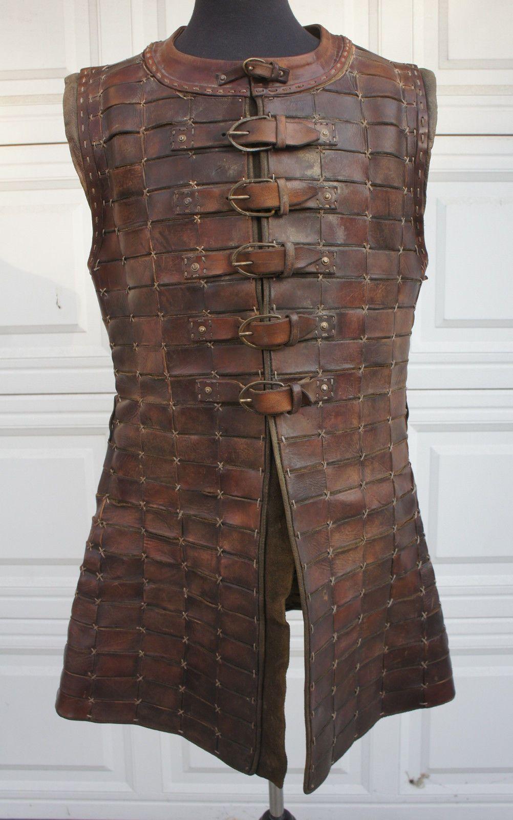 MEDIEVAL FANTASY NORMAN Mens Brown Black Leather BRIGANDINE BODY ARMOR LARP New