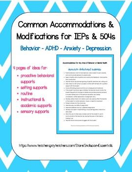 Behavior Accommodations | Classroom behavior, Education ...