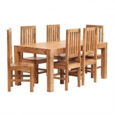 Toko Light Mango Furniture Ft Dining Table Wooden Chair Set - 6ft dining table and chairs