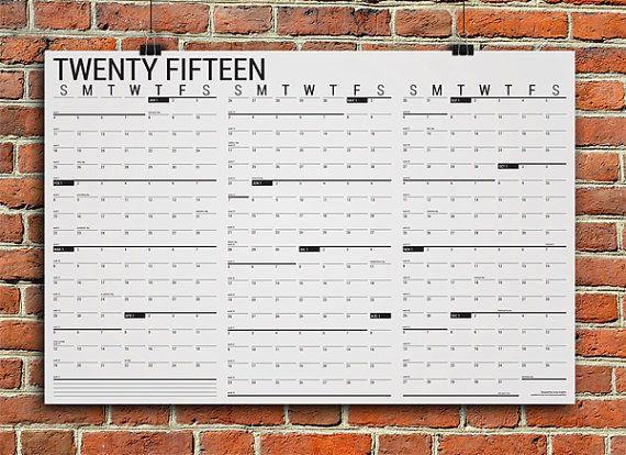 """Large Printable 2015 Wall Calendar - Horizontal (36""""x24"""")"""