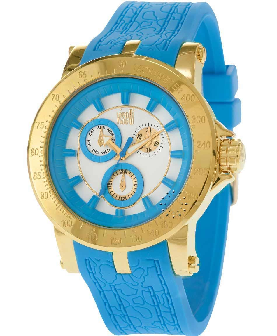 0300d6a57c OROLOI.gr - ΡΟΛΟΓΙΑ VISETTI - VISETTI Cinderella Gold Light Blue Rubber  Strap Unusual Watches