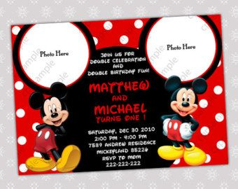 Mickey Mouse Birthday Party Invitation Two Or Twin Birthday