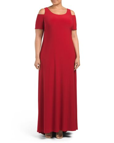 Plus Made In USA Cold Shoulder Gown