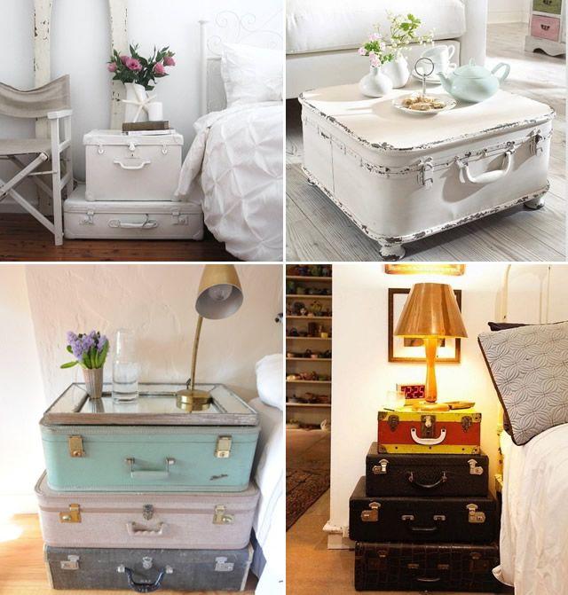 decoração com malas, suitcase decor, design, cool ideas, diy