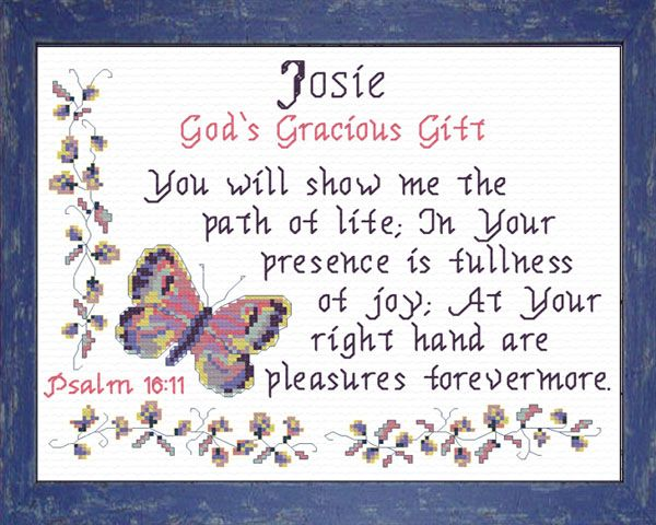 Josie - Name Blessings Personalized Cross Stitch Design ...