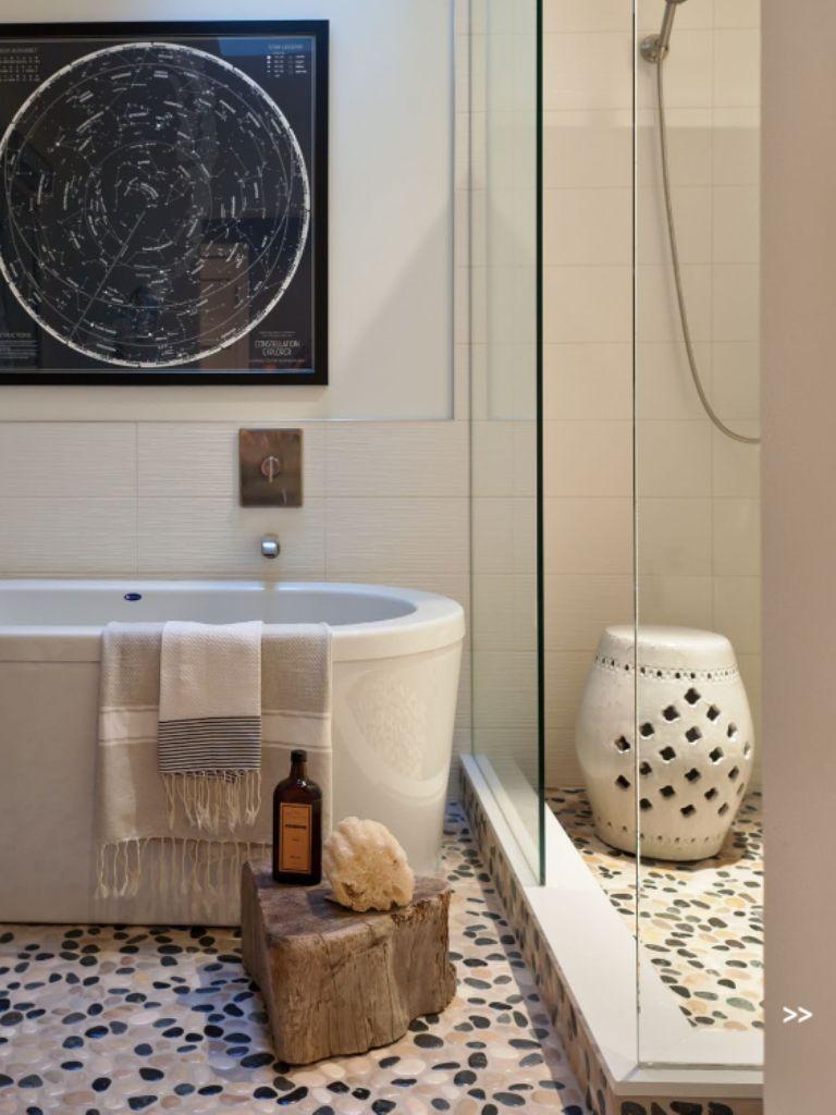 Nice Use Of Chinese Garden Stool Used In A Shower Elegant Bathroom Design Bathroom Design Inspiration Elegant Bathroom