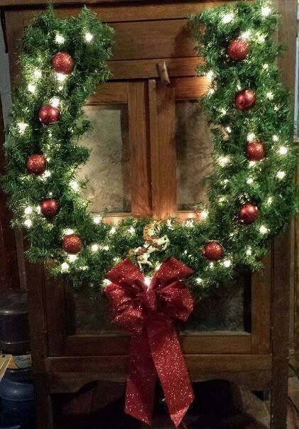 Horseshoe Wreath wreaths ect Pinterest Horseshoe wreath - decorative christmas trees