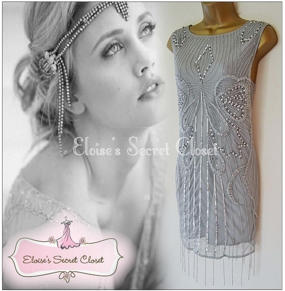River island gatsby 20 s flapper silver grey beaded evening cocktail river island gatsby 20 s flapper silver grey beaded evening cocktail dress 14 ombrellifo Images