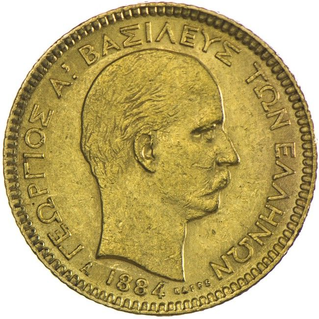 Georg I. 1863 - 1913, 20 Drachmen 1884 A Gold