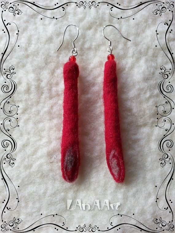 RED FELTED long dangle silver hooks EARRINGS of merino wool and red crystals by LanAArt