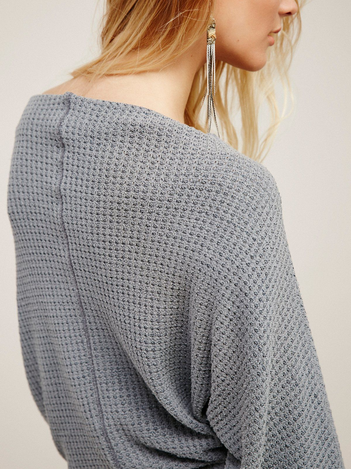 FP Mercury So-Soft Wide-Neck Oversized Drippy Thermal Tee (Grey)