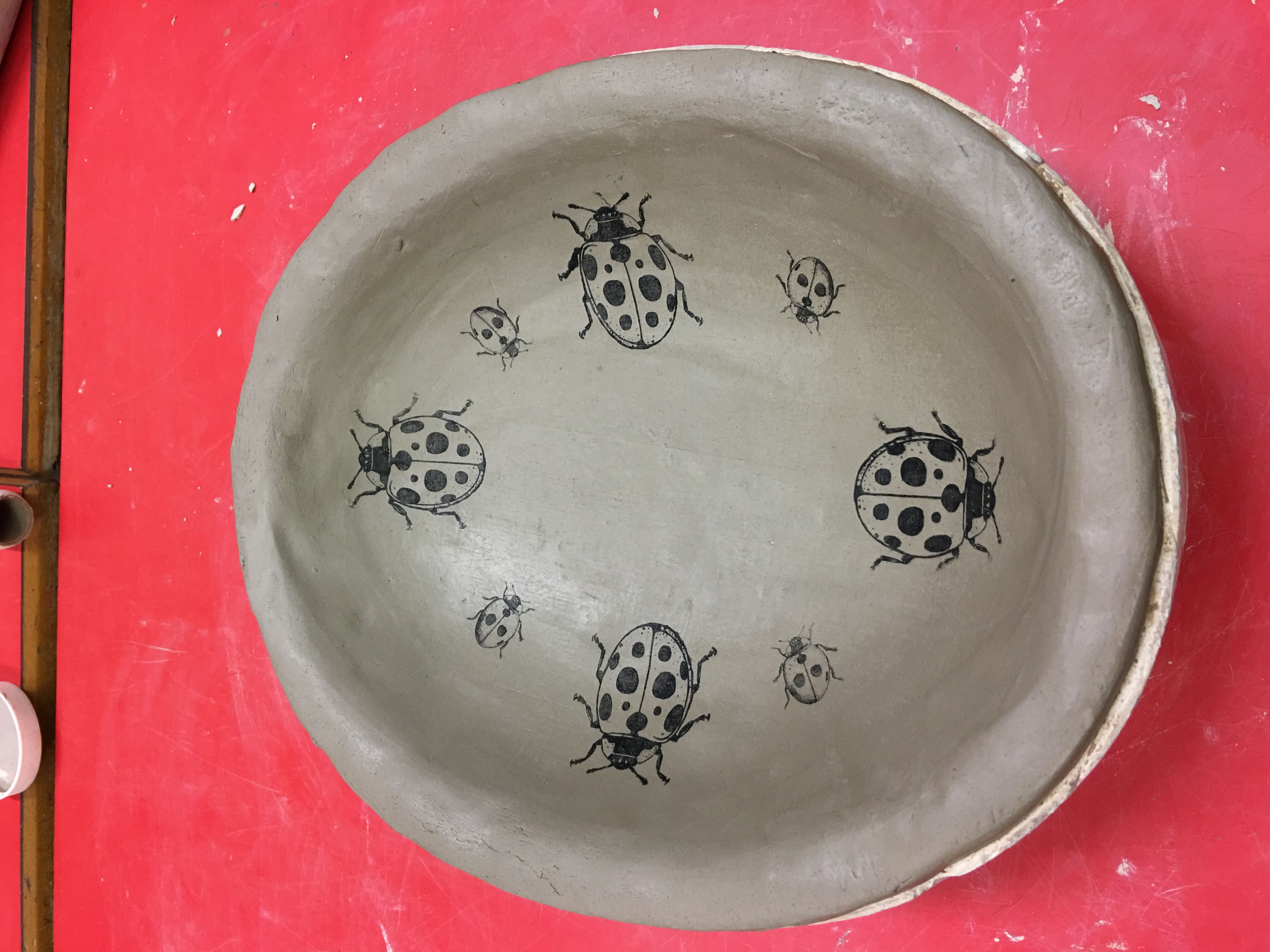 earthenware dish with ladybird transfers