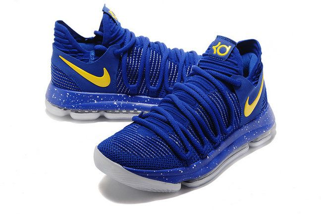 check out d1106 4444a Original Nike Zoom KD 10 X Warriors Blue Yellow Mens Basketball Shoes 2018  On Sale