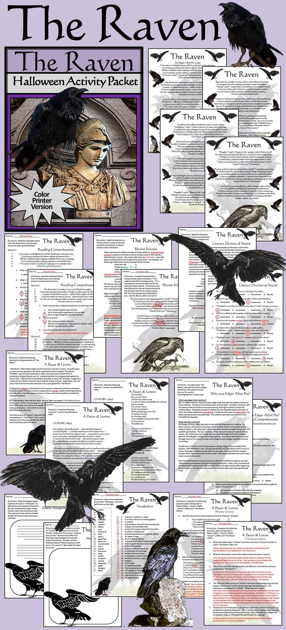 Pin On Grade 9 12 Idea Resources The Raven Poem Annotated