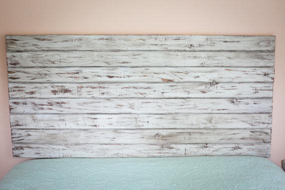rustic white full size headboard