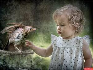 6 اجمل صور بنات اطفال في العالم مع طيور 6