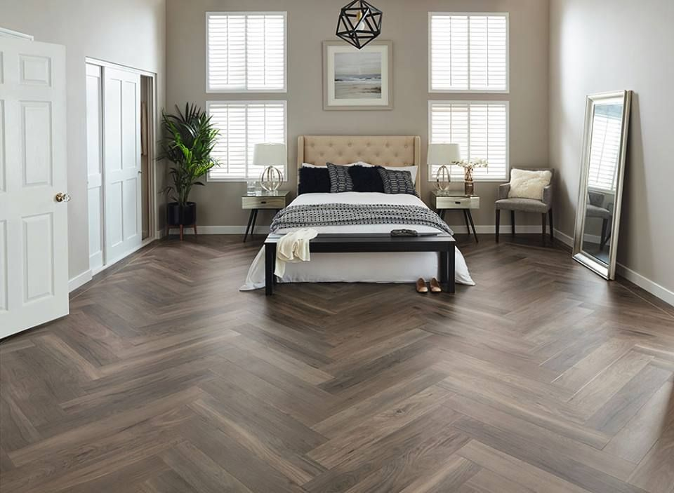 Gorgeous Herringbone Luxury Vinyl Plank Flooring Waterproof Kidfriendly Petfriendly Luxuryvinyl Vinylfloo Bedroom Flooring Floor Design Luxury Vinyl Tile