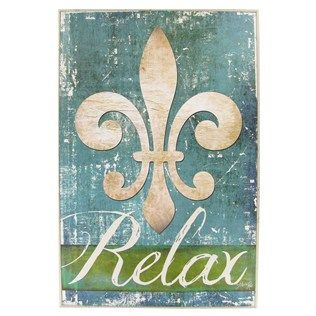 Relax with the spa-like colors of this turquoise & green wall plaque with fleur-de-lis.