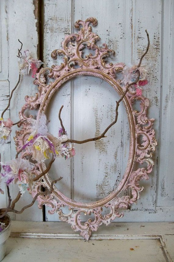 3ab982bba703 Pink ornate large frame accented white gold vintage shabby chic oval ...
