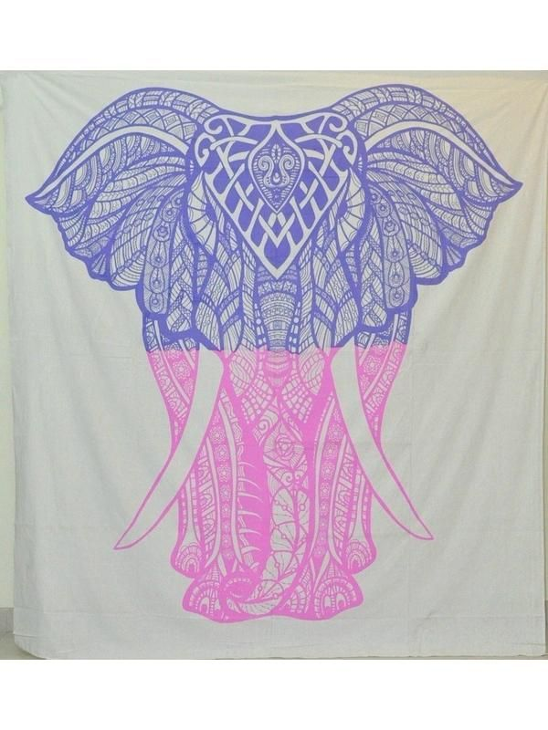 Two Tone Purple Pink Elephant Bohemian Boho Wall Beach Bed Tapestry ...