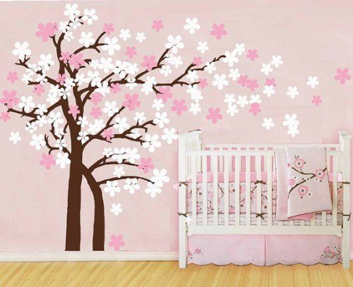 Amazon.com: Pop Decors Drifting Flowers And Birds Tree Wall Decals For Nursery  Room Idea