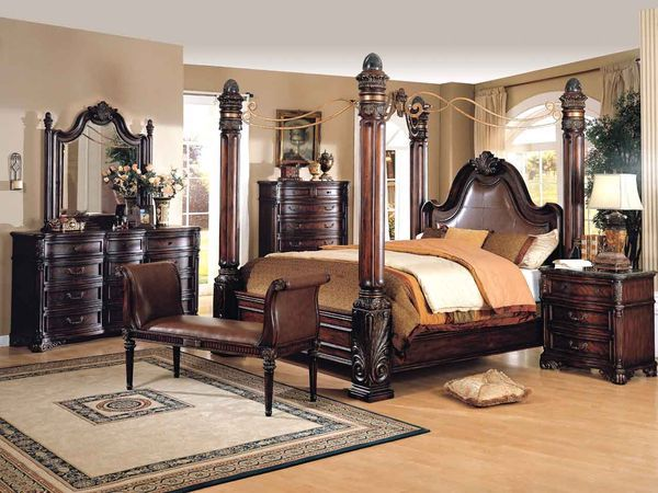 Regis Large Poster Bedroom Set W Iron Canopy In Cherry Wood
