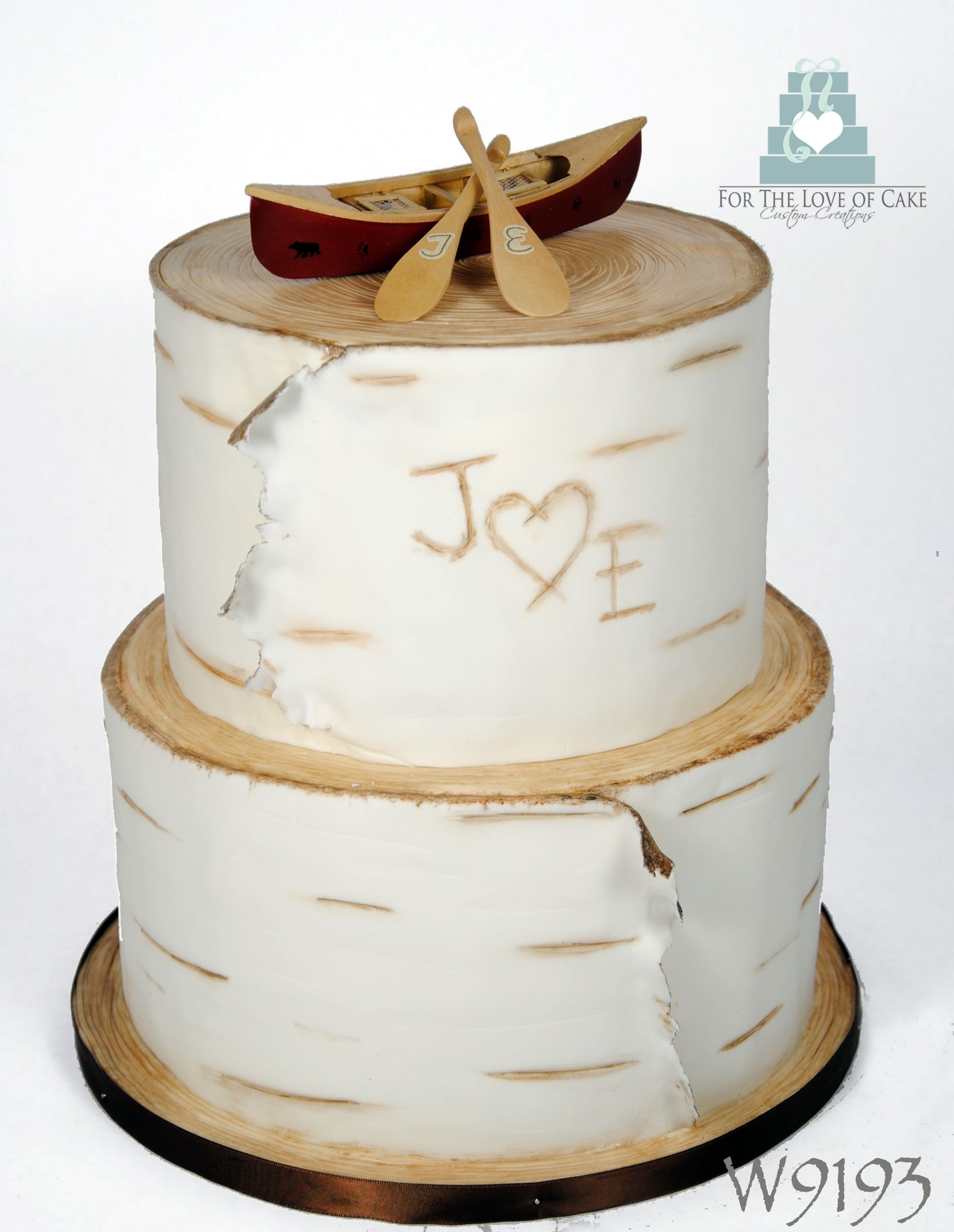 Birch Bark Wedding Cake This With A Real Wood Canoe Topper Was Made For The Initials J And E Muskoka