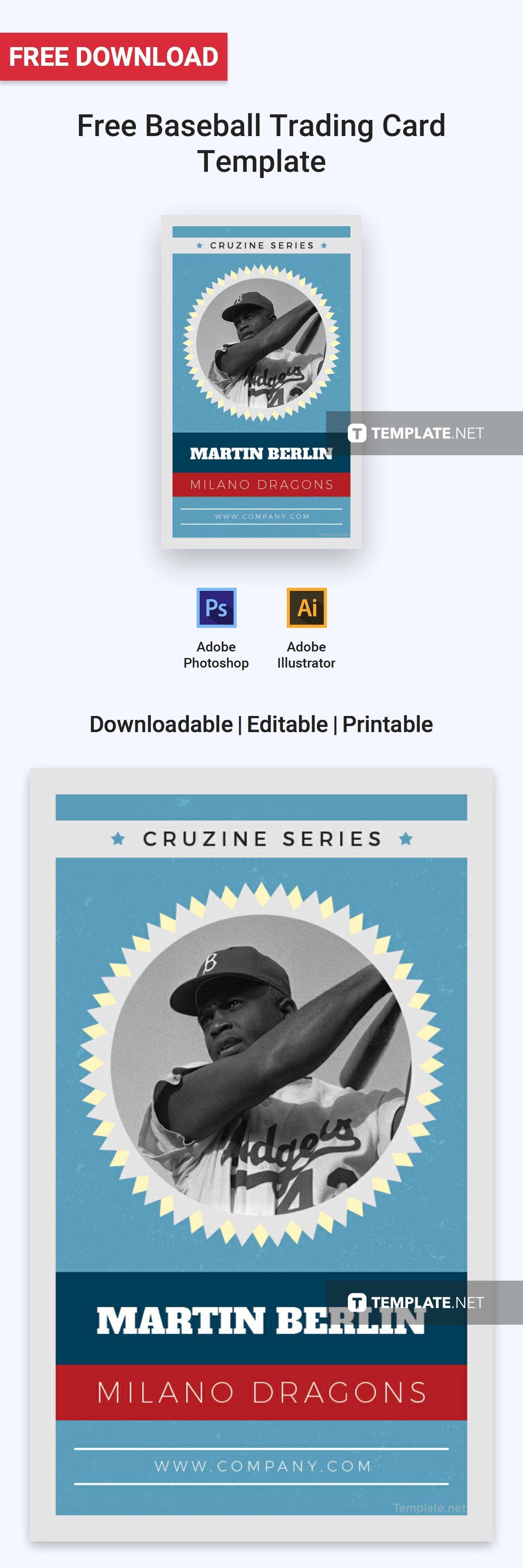 Free Baseball Trading Card Template Baseball Trading Cards Trading Card Template Cards