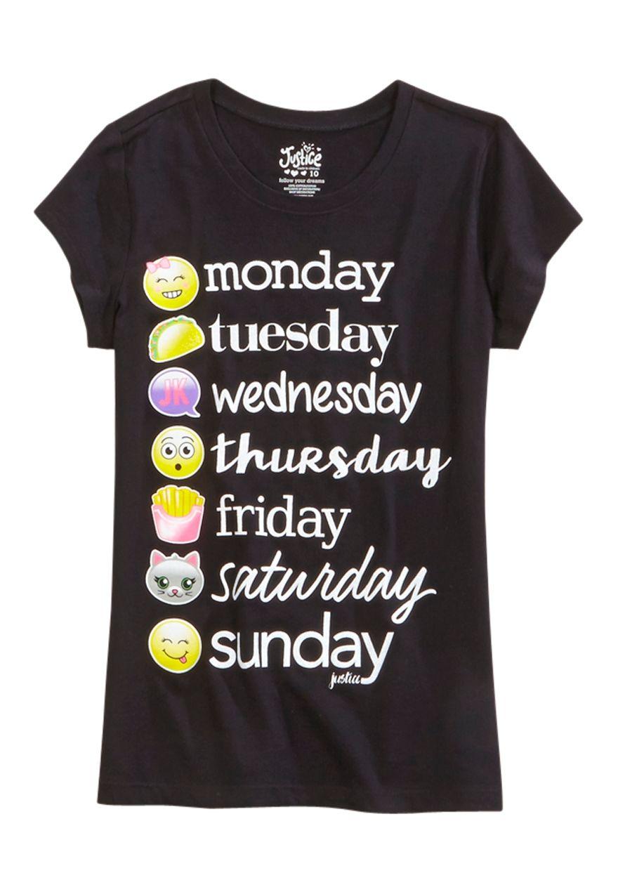 6eb9a730c9 Emoji Weekday Graphic Tee | justice emoji | Clothes, Graphic tees