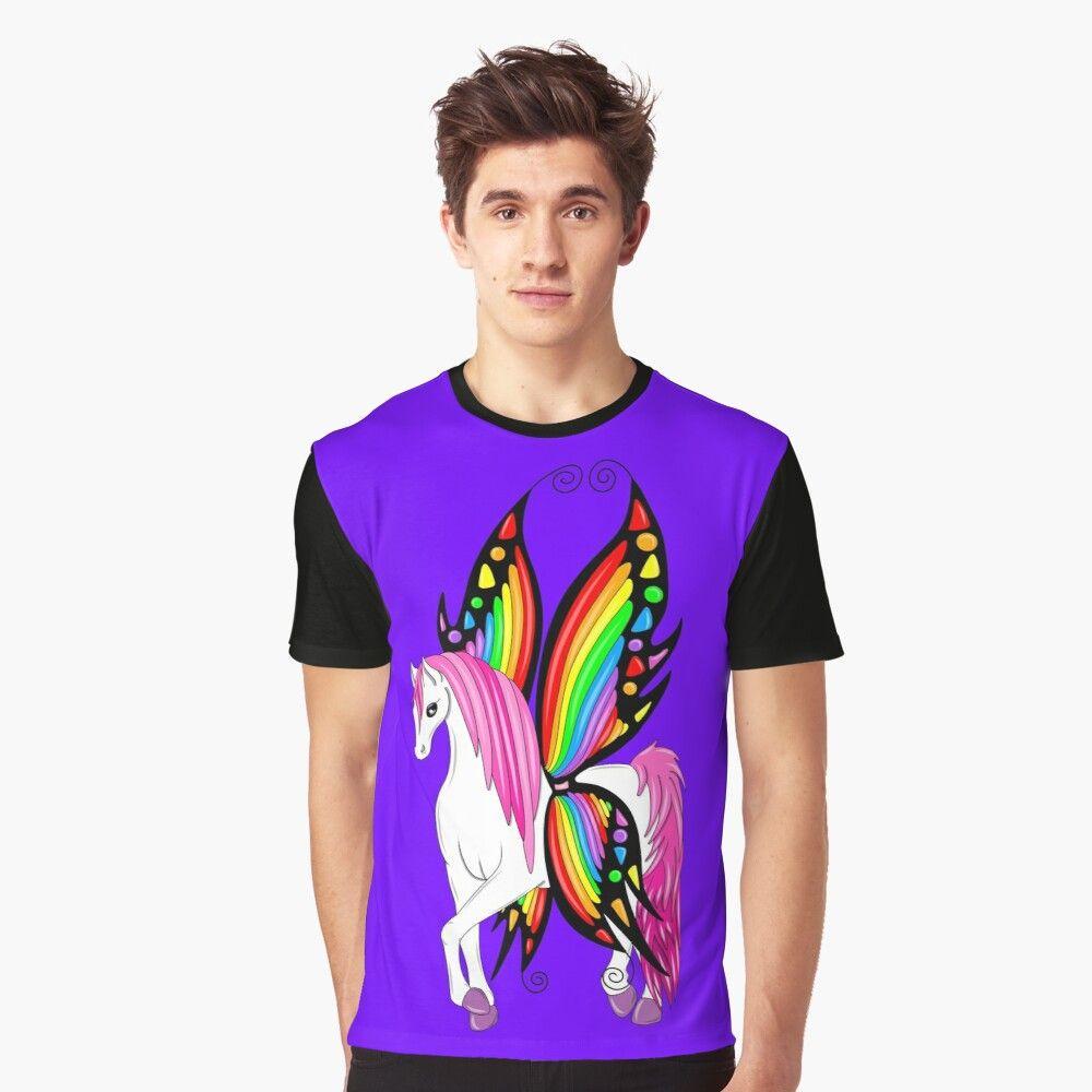 Rainbow Butterfly Pegasus Graphic T Shirt By Melanie Jeyakkumar In 2020 Rainbow Butterfly Graphic Tshirt Kitten Art