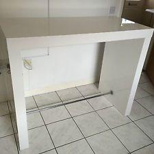 White Breakfast Bar breakfast bar table 1050mm - modern white high gloss finish from
