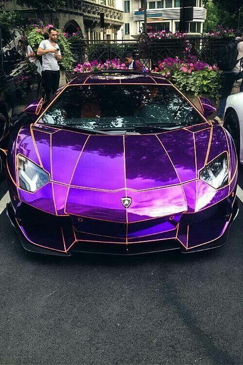 Purple Metallic Lamborghini Aventador Voitures De Luxe