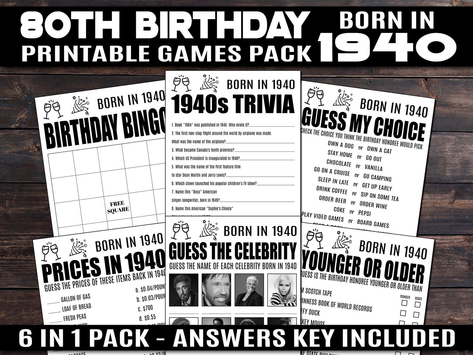 Trivia Quiz Price is Right Born in 1940 1940 Trivia Games Turning 80 Party Name the Celebrity 80th Birthday Party Games Printable