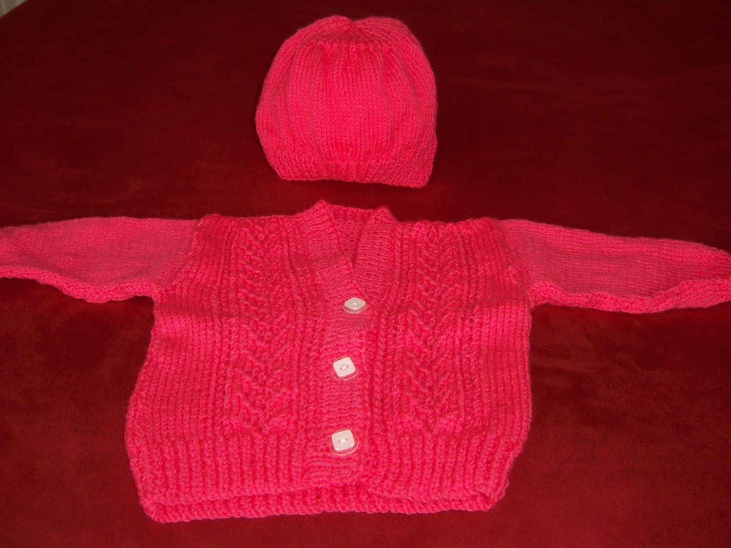 Hand Knitted Girls Cardigan and Hat. by Jstitchuk on Etsy