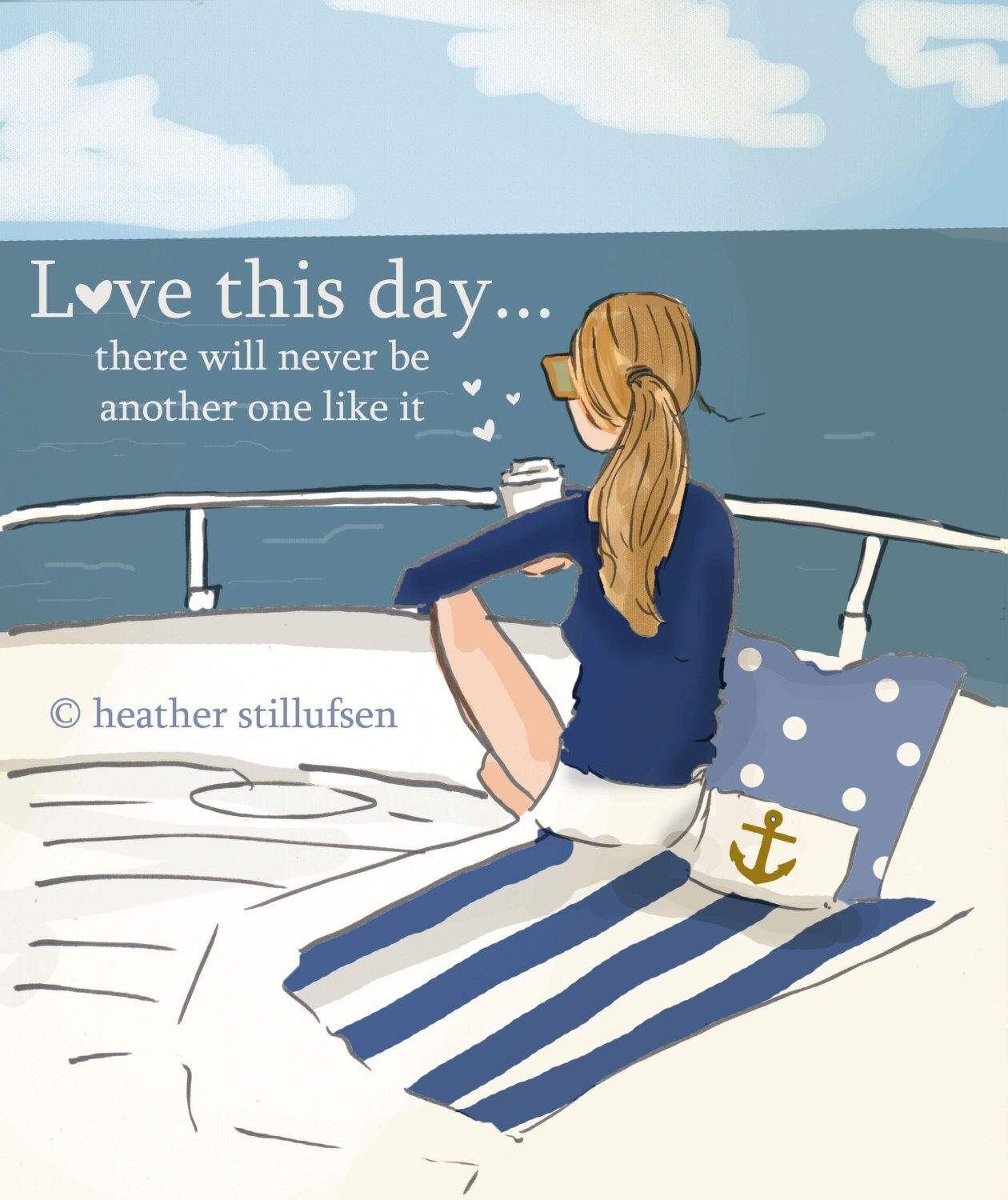 Love this Day -  On the Water- Sailing - Beach -  Digital Art Print -  Wall Art -- Print by RoseHillDesignStudio on Etsy https://www.etsy.com/listing/246908409/love-this-day-on-the-water-sailing-beach