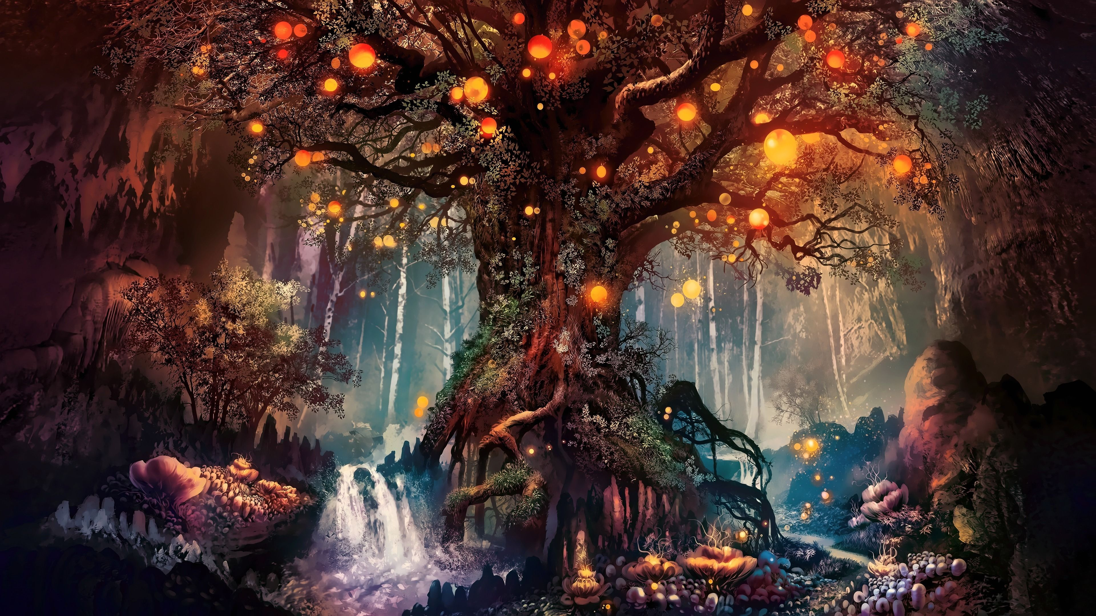 Download 3840x2160 Wallpaper Old Tree Fantasy Art 4k Uhd 16 9 Widescreen 3840x2160 Hd Image Background 1193 Art Wallpaper Fantasy Artwork Fantasy Tree