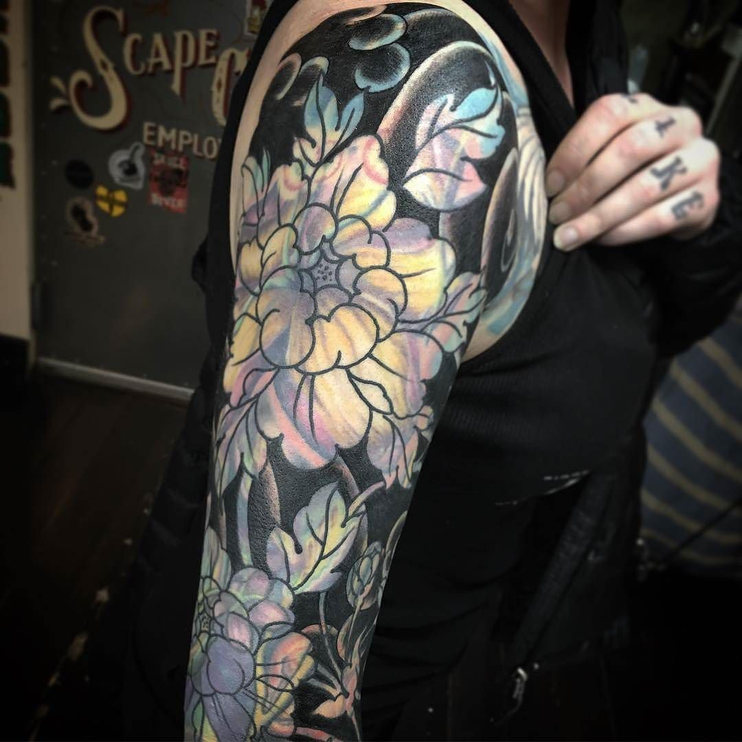 Blast Over Flower Sleeve By Ryanscapegoat At Scapegoat Tattoo In