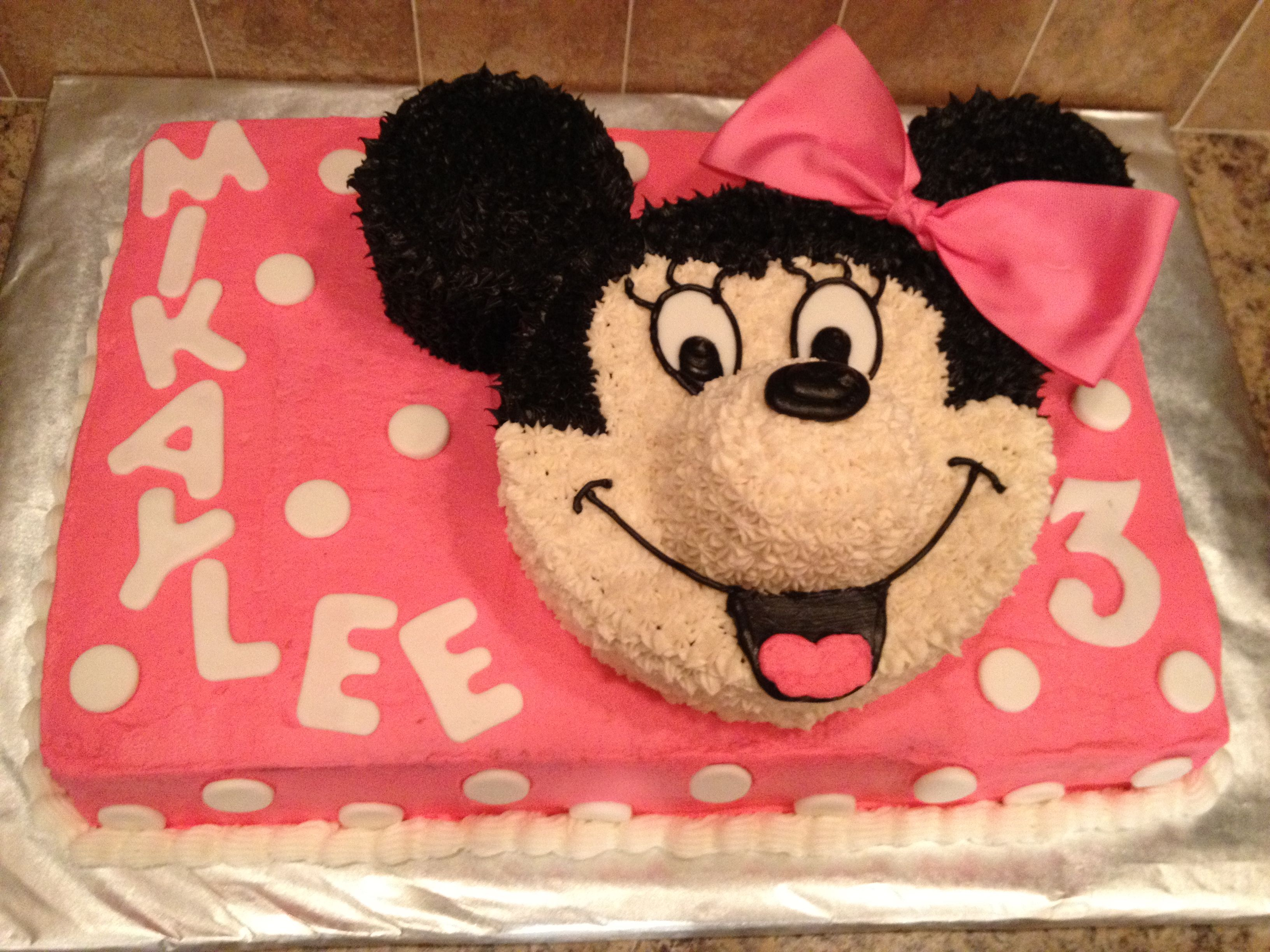 Cake we made for my daughter Mikaylees 3 yr birthday!  She LOVED it!  Didn't want us to eat it!
