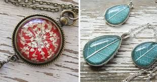 Image result for pressed flowers for jewelry