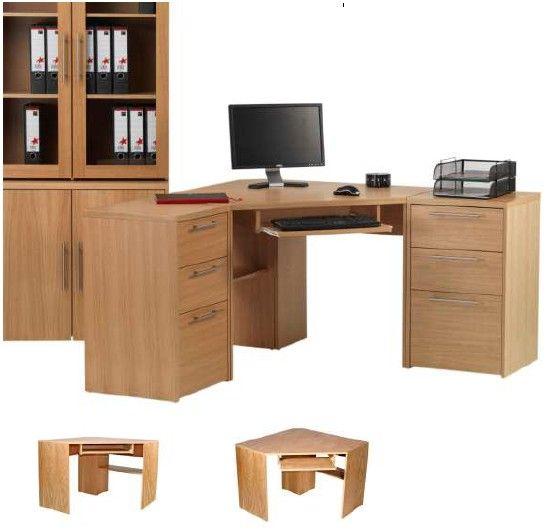 Comer Oak Voneer Oesk Stylish Home Office Corner Desk Finished In An Oak Veneer Pull Out Keyboard Shelf Additional Storage Furniture At Home Uk Offic