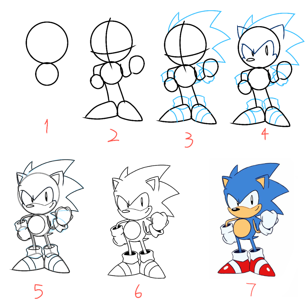 Step By Step Drawing Of Classic Sonic Tyson Hesse Style Album On Imgur Classic Sonic How To Draw Sonic Drawing Tutorial