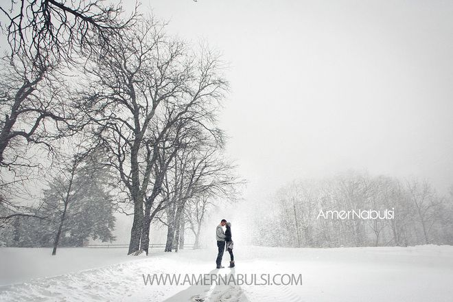 They had their engagement photos taken during the snowstorm yesterday in Hamilton!