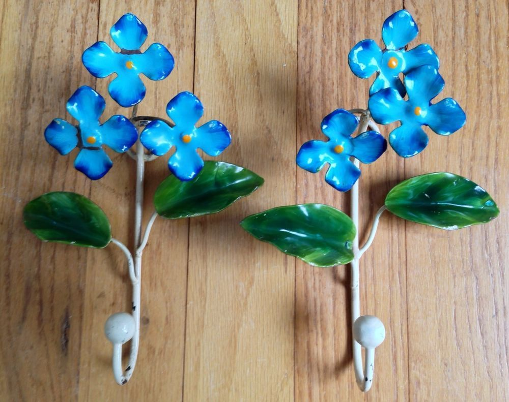 Pair Blue Hydrangea Forget Me Not Tole Toleware Painted Metal Flower Garden Hook Metal Flowers Blue Hydrangea Garden Hooks