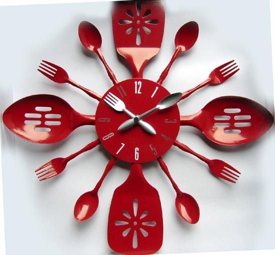 Fork And Spoon Wall Clock Kitchen Wall Clocks Wall Clock Design Kitchen Clocks