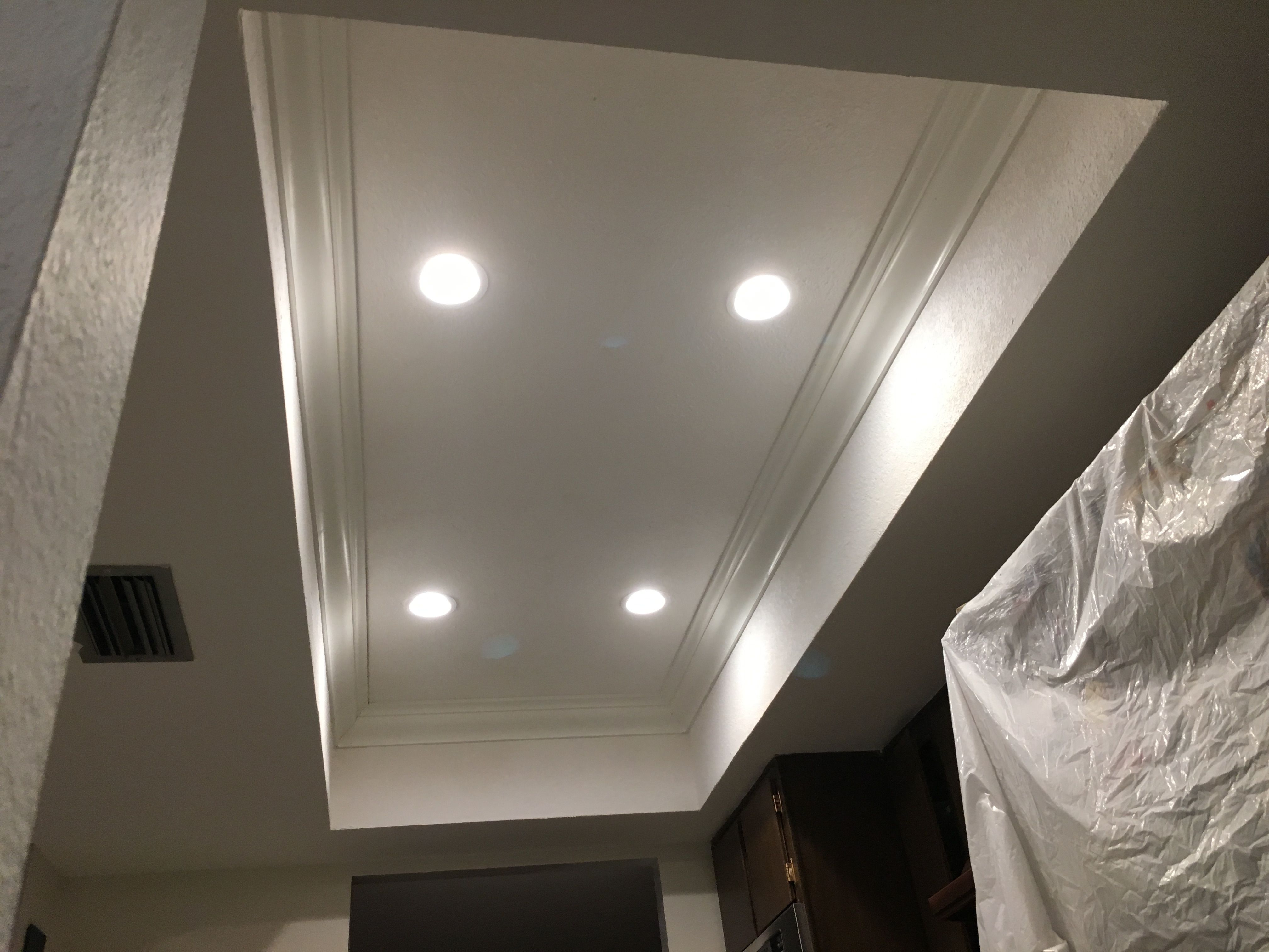 Demoed old lighting mud and textured 4x8 tray ceiling installed 4 demoed old lighting mud and textured 4x8 tray ceiling installed 4 inch 2700k recessed lights prepped crown painted crown molding and installed aloadofball Choice Image