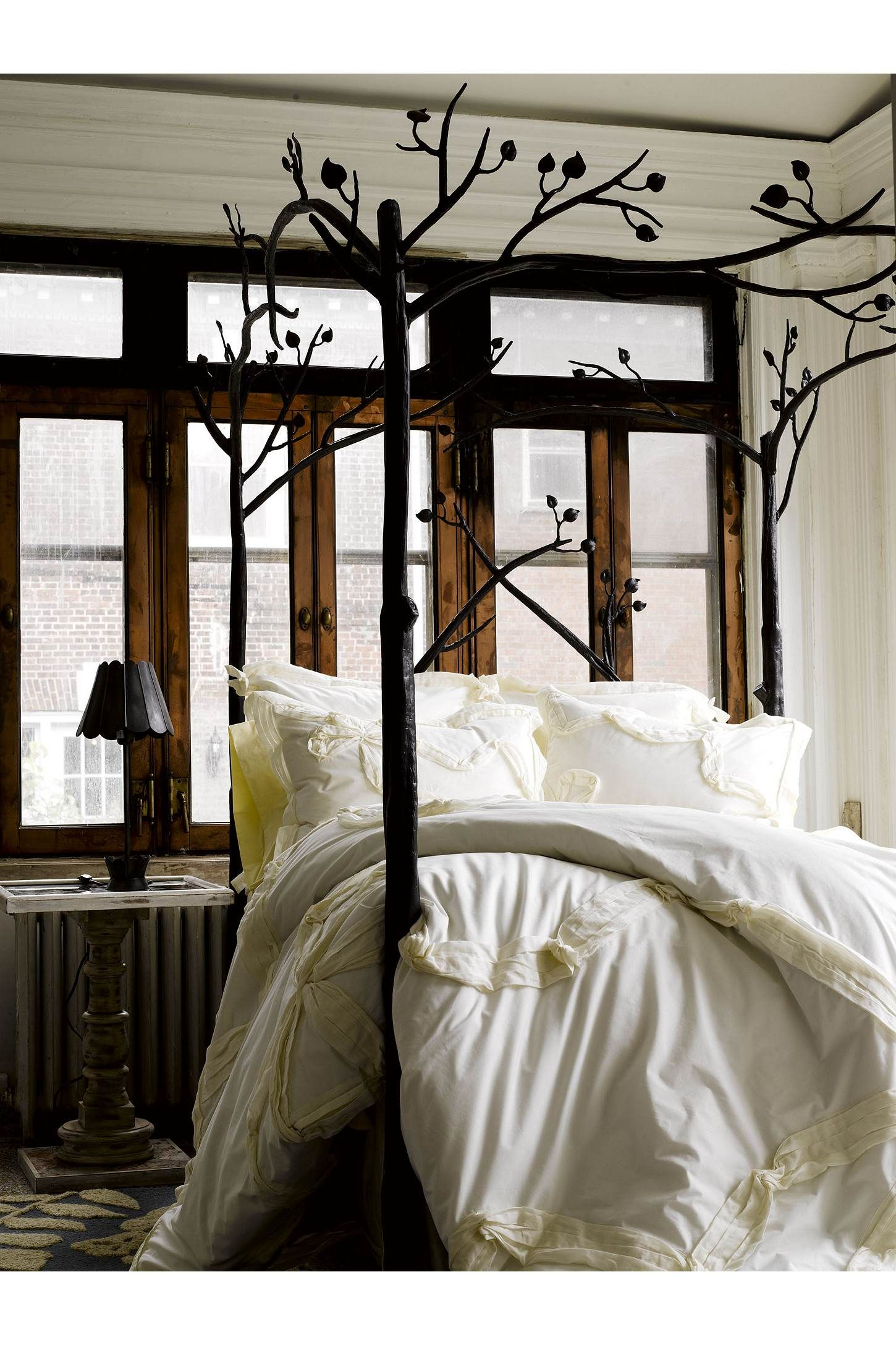 Anthropologie home decor tree branch bed white bedding Anthropologie home decor ideas
