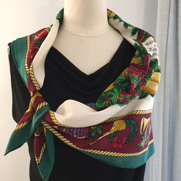 """Christmas silk scarf in burgundy, green & gold. Ho, ho, ho! Your Christmas outfit could be a simple dress with this gorgeous scarf! The 34"""" square could be a hip or shoulder wrap or worn as a traditional triangle. No flaws. Accessories Scarves & Wraps"""
