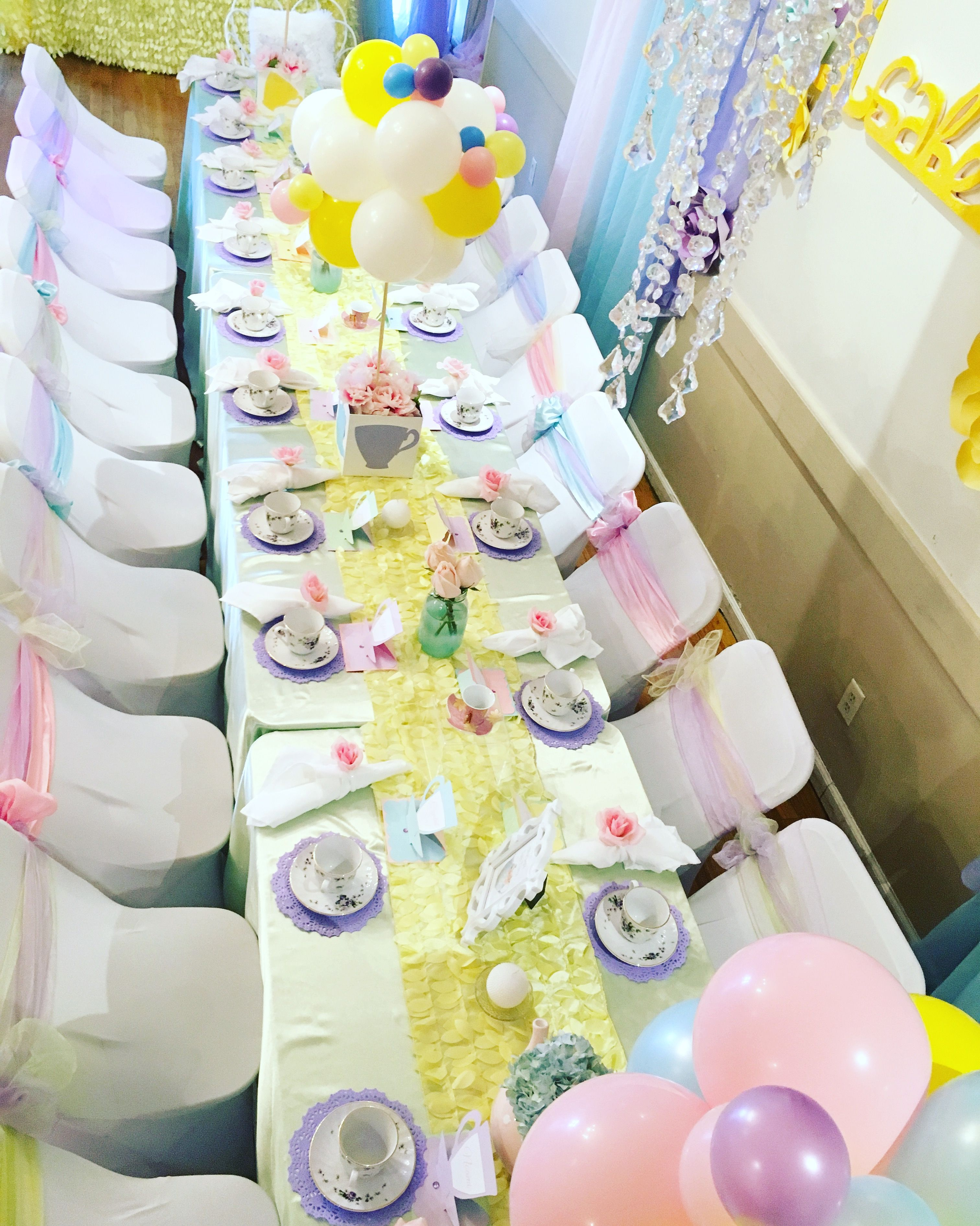 Table setting for a 10th birthday tea party Draping paper