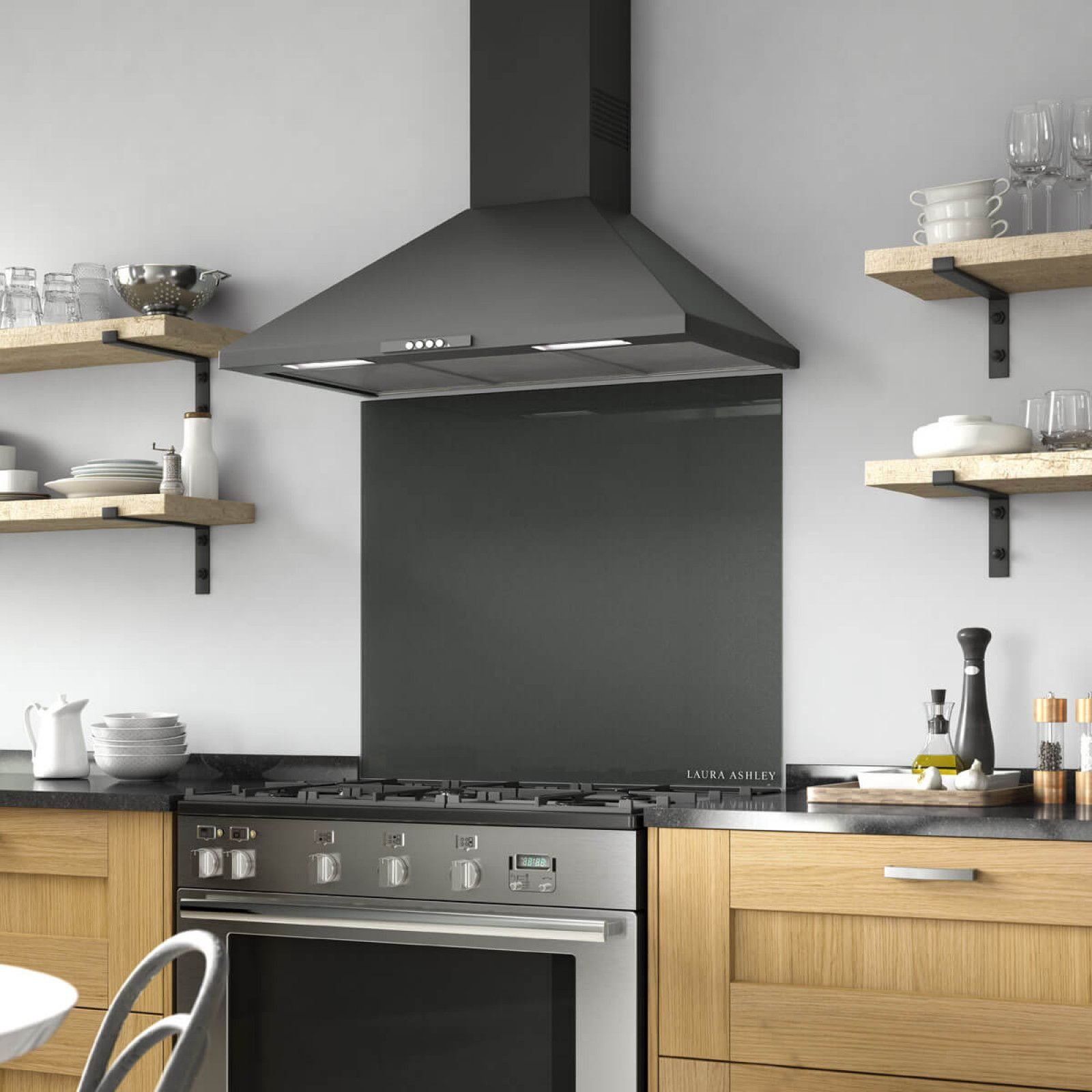 The Bold Charcoal Shade Of This 900x750mm Branded Laura Ashley